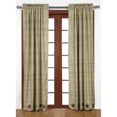 "Our Abilene Star Scalloped Lined Panel Curtains 84"" are so sweet with their star border. If you love primitive country then these curtains will be perfect. https://www.primitivestarquiltshop.com/products/abilene-star-scalloped-lined-panel-curtains-84 #countrstylecurtains"