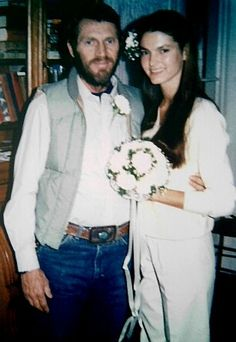 Steve McQueen & Barbara Minty @ their wedding [his third]. They married on January 16, 1980, less than a year before his death, McQueen married model Barbara Minty. McQueen had four grandchildren from his two children with first wife Niele Adams McQueen.
