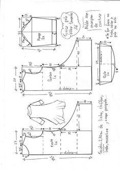 Dress Sewing Patterns, Sewing Patterns Free, Clothing Patterns, Sewing Tutorials, Sewing Projects, Costura Fashion, Shirt Dress Pattern, Pattern Cutting, Pattern Drafting
