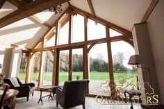 Glazed oak framed extension offers an uninterrupted view.