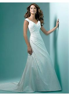 LACE BRIDESMAID PARTY BALL EVENING GOWN IVORY WHITE FORMAL TAFFETA A-LINE V-NECK WEDDING DRESS