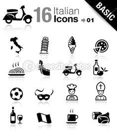 Basic - Italian icons — Stock Vector