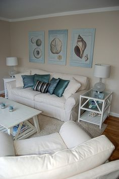 Beach Living Room.... perfect to look at, not so ideal to LIVE in though! That's a LOT of white!