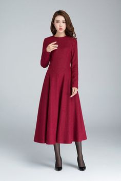 wine red dress maxi dress wool dress fall dress party by xiaolizi