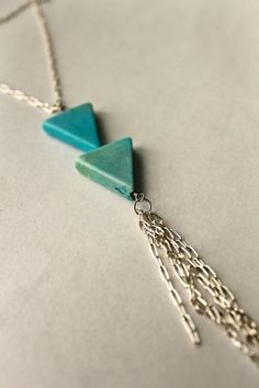 Turquoise Dyed Magnesite Triangle Long Silver Chain by KTSues