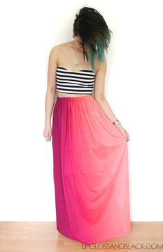 love this pink fade maxi skirt
