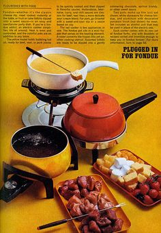 Plugged in for Fondue 1971 My mother had the best dips. Retro Recipes, Vintage Recipes, Ethnic Recipes, 1970s Party, Retro Party, 1970s Food, Fondue Party, Nostalgia, Party Dishes