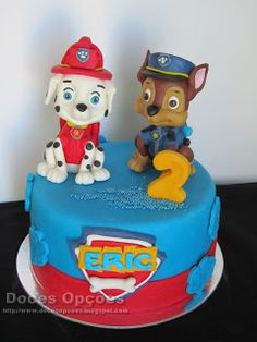 Doces Opções: Bolo de aniversário Patrulha Pata Birthday Cake, 1, Desserts, Food, Cakes For Boys, Birthday Cakes, Decorating Cakes, Dessert, Fiestas