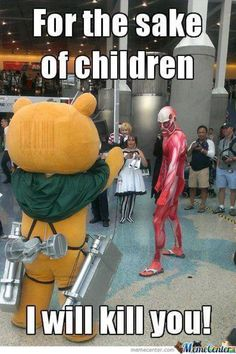 Omg! A Rilakkuma bear dressed like a trainee in Attack on Titan! That's amazing XD