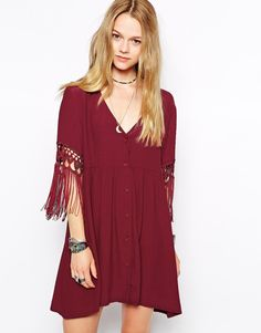 Kiss The Sky Smock Dress With Tassel Sleeves