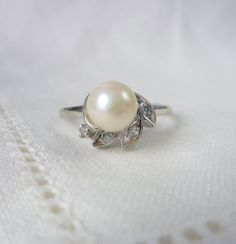 A Vintage Cultured Pearl and Diamond Ring in 14kt White Gold - Franny by RomanceVintageJewels on Etsy
