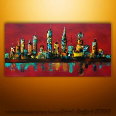 Large Painting Abstract Original Modern Cityscape Art by Catalin 48x24. $199.00, via Etsy.