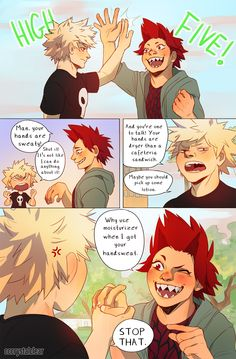 I love these dorks and I wanted to give them a cute comic page <<< not to be a buzzkill (I love this ship) but Kiri, your man's sweat is not only flammable but also explosive My Hero Academia Memes, Hero Academia Characters, Buko No Hero Academia, My Hero Academia Manga, Boku Academia, Kirishima Eijirou, Cute Comics, Boku No Hero Academy, Anime Ships