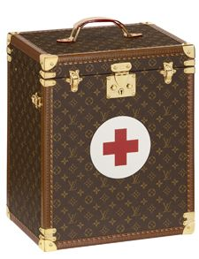 Louis Vuitton limited-edition first aid kit to celebrate the Red Cross' 150-year anniversary. Funny, but I just don't see the Red Cross outfitting their first responders with Louis Vuitton.