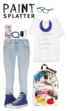 """""""Happiness"""" by ffyspi ❤ liked on Polyvore featuring Violeta by Mango, Ray-Ban, Polo Ralph Lauren, Marc Jacobs, Humble Chic, Converse and paintsplatter"""