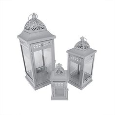 Set of 3 Grey Garden Getaway Ornate Pillar Candle Holder Lanterns 205 >>> Check out the image by visiting the link.Note:It is affiliate link to Amazon.