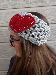 Adult Ear Warmer grey/red white #madeinusa from @rosieMADE $22