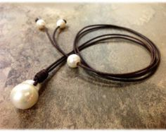 Stunning Baroque Cultured Freshwater pearl and Leather Jewelry - PatSy 2