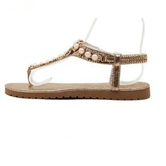 Pearl Crystal Flip-Flop Sandals Rhinestones Casual Sandal Shoes Flat With Gladiator Beach Shoe With Elastic Band Willow Valley