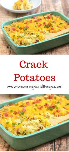 Crack potatoes is a delicious casserole made with hash browns, sour cream, ranch dressing mix, bacon and cheese; super addicting!