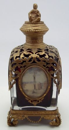 Stunning Antique French Grand Tour Glass Bronze Perfume Bottle Large   eBay