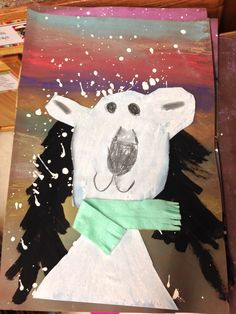 Polar Bear This is a two-week project. The second week, introduce polar bears with a book and then draw them. Winter Art Projects, School Art Projects, Art Lessons For Kids, Art Lessons Elementary, January Art, First Grade Art, Jr Art, Toddler Art, Kindergarten Art