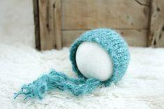 Free Shipping - Newborn Knit Bonnet - Dragonfly Teal-  Baby Boy Newborn Hat