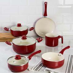 Conjunto de Panelas com Revestimento Cerâmico Colors 6 Peças Vermelho La Cuisine