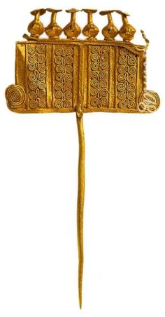 Decorative pin, gold of Troy,Pushkin Museum, Moscow. Ancient Greece, ca. 2400-2300 B.C.