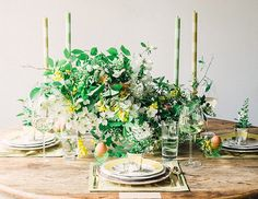 Flowers by Lindsay Coletta - Cheery Easter tablescape via Waiting on Martha