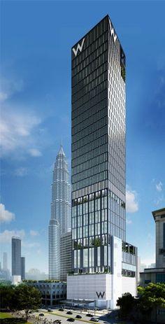 W Hotel & Residences - SOM Architects - Kuala Lumpur, Malaysia Architecture Design, Hotel Architecture, Architecture Visualization, Commercial Architecture, Facade Design, Futuristic Architecture, Amazing Architecture, High Building, Building Facade