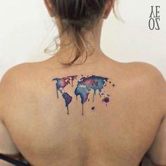 Watercolor World Map Back Tattoo