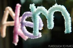 Super cool science for kids! Make crystal names!!