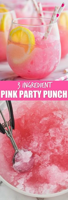This Three Ingredient Pink Party Punch comes together in less than five minutes . This Three Ingredient Pink Party Punch comes together in less than five minutes . Alcoholic Punch Recipes, Easy Alcoholic Drinks, Drinks Alcohol Recipes, Fruit Recipes, Summer Alcoholic Punch, Pink Drinks, Summer Drinks, Cocktail Drinks, Pink Mixed Drinks
