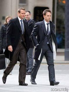 Monday November 4, 2013. Gabriel Macht, Patrick J. Adams, Rick Hoffman and Sarah Rafferty seen filming for the last episode of 'Suits' - Sea...
