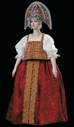 Lyubava, by Alexandra Koukinova. Lyubava's costume is an ethnographically exact and traditional for a young married peasant woman from Nizhniy Novgorod Province (late - early century). Costume Russe, Russian Culture, 18th Century Clothing, Russian Folk, Russian Style, Russian Art, Barbie Princess, Russian Fashion, Folk Costume