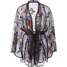 Red Valentino Fancy Flower Embroidered Point D'Espirit Kimono ($2,695) ❤ liked on Polyvore featuring intimates, robes, floral kimono robe, red valentino, black floral kimono, floral print robe and kimono robe - lingerie, ideas, teddy, latex, bodysuit, red lingerie *ad