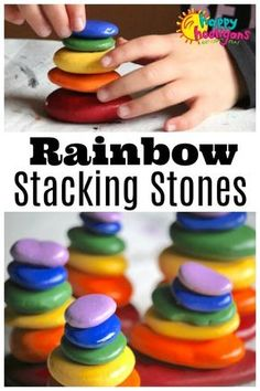 Rainbow Stacking Stones - a Balancing Activity for Preschool.-Rainbow Stacking Stones – a Balancing Activity for Preschoolers Rainbow Stacking Stones – a Balancing Activity for Preschoolers – Happy Hooligans - Happy Hooligans, Projects For Kids, Crafts For Kids, Art Projects, Kids Diy, Diy Bebe, E Mc2, Learning Colors, Kids Learning