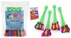 Crazy Balloons - Fills and Ties 148 Water Balloons in a Minute - Hose Attachment Filler - Includes 148 Self Sealing Balloons - Make a Bunch of Battle Ready Water Bombs Fast - Easy for Kids to Use - Bonus Water Fight Games Booklet Kamhi World http://www.amazon.com/dp/B00WRN0H2E/ref=cm_sw_r_pi_dp_xLEIvb0K7EMPB
