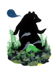 Ghost Bear - Limited Edition, 6 color Screenprint by Diana Sudyka