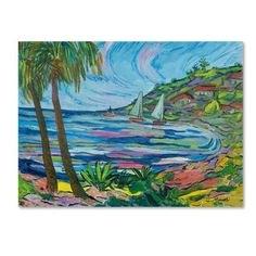 "Trademark Art 'Island Bay' by Manor Shadian Painting Print on Wrapped Canvas Size: 35"" H x 47"" W x 2"" D"