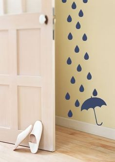 wall decals for on wall with window/yellow curtains - sunshine and rain drops theme