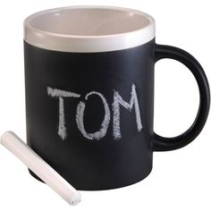 Stoneware mug (300ml) with a black panel for drawing, includes one piece of chalk.