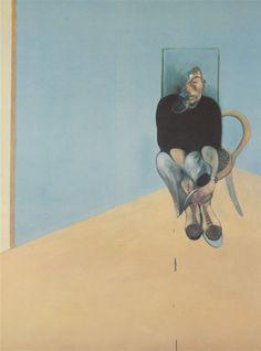 Francis Bacon, study for self portrait 1982. ~Bacon como Cézanne —enfrentado a los clichés del realismo académico y a la vaporosa inmaterialidad impresionista—, busca también una mediación. Rechaza por una parte lo que ve como idealizadas formas geométricas de la abstracción, por otra la turbia confusión del expresionismo abstracto y también las imágenes ya dadas cerradas (ready-made) de la Ilustración~ Maldiney_Deleuze_Bogue. /Francis Bacon Study for Self Portrait, 1982 (1984)