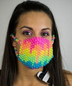 All dem colorz #rave #kandi #edm  http://iedm.com/ Melting Rainbow Glow Kandi Mask