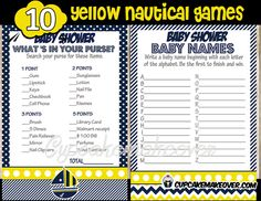 Set sail for some good laughter and a great time with our Navy and Yellow Sail boat themed baby shower games.Your guests will enjoy sailing byyour baby shower thanks to a bundle of fun party games. WHAT YOU GET This listing is for 11 PDF files with: Name that Baby Food Baby Name Race Price […]