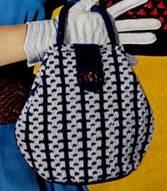 Knitted Bag pattern from New Quick Tricks, originally published by Clark's ONT J Coats, Book 307, in 1954.