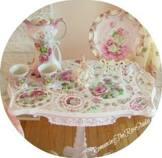 Pink roses, mosaic table, pink decor,   www.RomancingTheR... ©Website Design by: OneSpringStreet.NET 2011