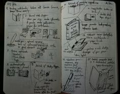 This design journal is done completely through sketches and notes. This journal shows the constant flowing nature of the designer's thoughts. There are notes and sketches covering the entire page, and each page is dated, with each entry numbered. It is a visual recordings of the artist's mind.