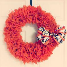 Orange Fall Halloween Thanksgiving Burlap Wreath